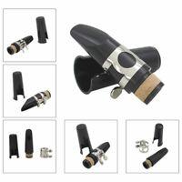 Black Plastic B Flat Clarinet Mouthpiece & Cap Clamp Woodwind Instruments A5C3