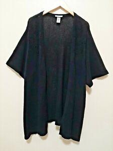 CATHERINES Women's 4X 30 32 Black Knit Open Cardigan Short Sleeves Plus