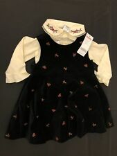 NWT Gymboree Girls Set Velvet Emb Jumper Dress w/ Ivory Button Top Size 18-24 M
