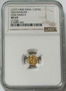 1377-1404 INDIA 1/2 PAG VIJAYANAGAR HARI HARA II NGC MNT STATE 63