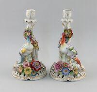 8640070  Porzellan-Figuren Leuchtpaar Schierholz Paradiesvögel Thüringen
