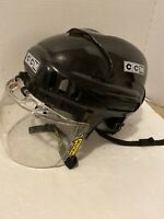 CCM Ice/Street Hockey Helmet with XCEL Type 4 Clear Visor, Size SM-15 BLK