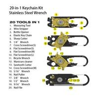 20 In 1 Schlüsselbund Schraubendreher EDC Edelstahl Pocket Multi Tool Werkzeug