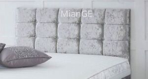 4FT6 DOUBLE SIZE SILVER CRUSHED VELVET DIAMANTE HEADBOARD ALL SIZES AND COLORS