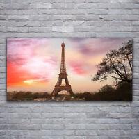 Canvas Wandbild Leinwand Bilder 120x60 Paris Eiffel Menschen Gebäude Stadt