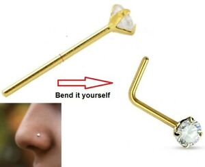 Tiny 2mm CZ Gem Crystal Diamante Princess Cut 9ct SOLID GOLD Nose Stud Wire AA