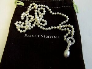 Ross Simons 14k White Gold Fresh Water Pearl and Diamond Lariat Necklace
