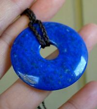 Beautiful Top Grade Lapis Lazuli Pi Donut Plate with Ajustable Waxed Cord