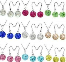 20set/lot 10mm mix silver plated crystal shamballa necklace pendant earrings set