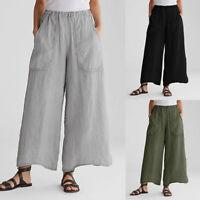 ZANZEA Femme Pantalon 100% coton Poches Taille elastique Casuel Loose Longue