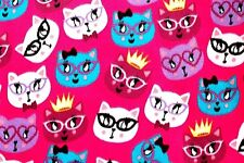 """REMNANT: ROYAL KITTY WITH GLASSES, BOWTIES, & CROWNS FUSHIA FLEECE FABRIC 60x35"""""""
