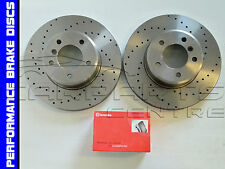 FOR RENAULT CLIO SPORT 172 182 FRONT PERFORMANCE DRILLED DISCS BREMBO BRAKE PADS