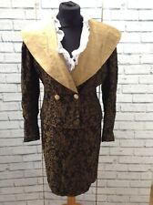 Patsy Seddon For Phase 8 Gold & Black Floral Jacket 10 & Skirt Suit Size 12