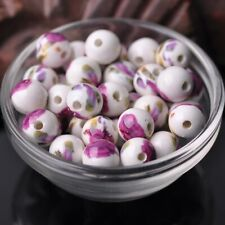 10pcs Round 10mm 12mm Flowers Patterns Porcelain Ceramic Loose Spacer Beads lot