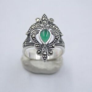 Pure 925 Sterling Silver Flower with Natural Green Chalcedony Ring For Woman