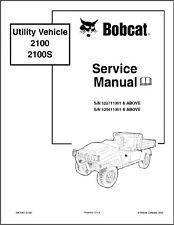 Bobcat 2100 2100S Utility Vehicle UTV Service Manual on a CD
