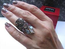PASQUALE BRUNI Mandala Ring 750 G Gold 18 K lots of stones Gr 54 55 Box