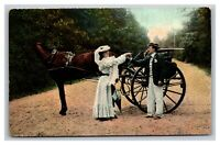 Vintage 1909 Romantic Postcard Couple in the Park Horse & Buggy Colorized Photo
