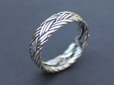 Ladies Mens Solid 925 Sterling silver braided ring 6mm band Gift for him or her