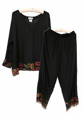Paradiso Women's Black w/ Earthtone Design Tunic Top w/ Beaded Pants - 2 Pc Set