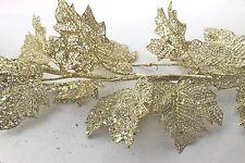 GISELA GRAHAM CHRISTMAS GOLD GLITTER MESH LEAF GARLAND 180cm