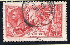 KGV 1915 sg 409 sea horse 5/- bright carmine De La Rue Printing cds pmk.