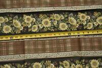 "33"" Long, Plaid & Floral Stripes on Brown & Tan Quilt Fabric, Benartex, N5090"