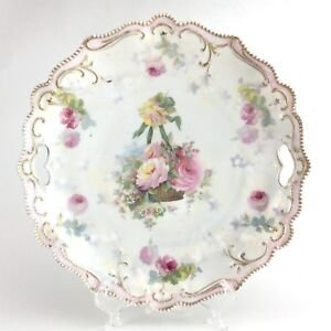 Antique R S Reinhold Schlegelmilch Prussia Transferware Roses Cake Platter H757