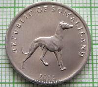 SOMALILAND 2002 20 SHILLINGS, GREYHOUND DOG, UNC