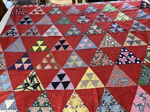 Vintage Handmade Hand Stitched Feed Sack The Pyramid Quilt Top 67x77 twin #758