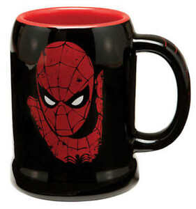 Spiderman Man Face 20 Ounce Black Ceramic Stein