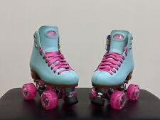 Moxi Beach Bunny Skates Sky Blue size 3 with Crazy Led indoor/outdoor wheels