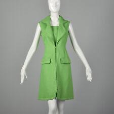 M Geoffrey Beene Green Dress 1960s Mod Zip Front Pocket Linen Shirtdress 60s Vtg