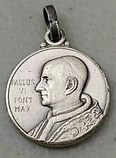 SMALL VINTAGE 800 SILVER CATHOLIC MEDAL POPE PAUL VI SAINT CHRISTOPHER