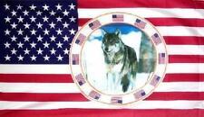 Fahne Flagge USA mit Wolf 90 x 150 cm