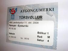 used ticket FAROE ISLANDS - AUSTRIA 11.10.2008