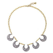 New Sparkling Crystal Pave Antique Silver Plated Cresent Moon Statement Necklace