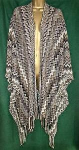 New LOEVENICH Brown Grey Knit Boho Long Shawl Cover-up Poncho Cape Top AUTHENTIC