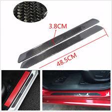 2 Pcs 49cm Autos SUV Real Carbon Fiber Door Sill Scuff Plates Protectors Sticker