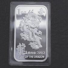 2012 Year of The Dragon 1 Troy oz .999 Fine Silver Bar In Plastic Case
