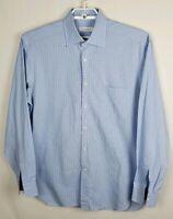 Men's Ermenegildo Zegna Blue Plaid Comfort Fit Dress Shirt Long Sleeve Sz XL