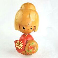Vintage Wood Kokeshi Doll Geisha Blonde Hair Signed