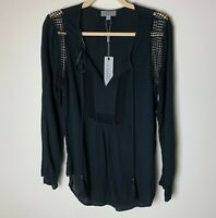 Joseph A. NEW Women's Top Size Small Black Tassel Ties Boho Festival Open Weave