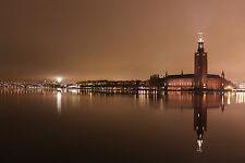 Framed Print - Vintage Brown Effect of Stockholm Sweden City Hall (Picture Art)