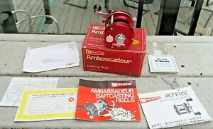 Vintage Abu Ambassadeur No. 5500 Red Fishing Reel Made In Sweden