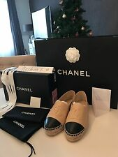 NEW Chanel Leather Lambskin Espadrilles Beige/ Black size 37 with receipt