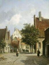 ADRIANUS EVERSEN DUTCH AMSTERDAM STREET SCENE OLD ART PAINTING POSTER BB4751A