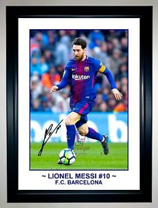 LIONEL MESSI BARCELONA ACTION PHOTO COLLAGE SIGNED PHOTO PRINT OR FRAMED