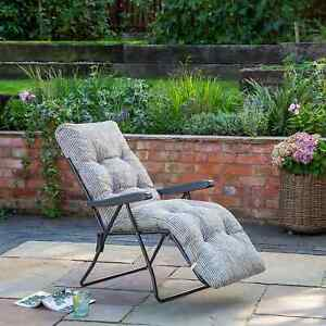 Padded Reclining Sun Lounger Striped - Outdoor Cushioned Garden Deck Chair Bed