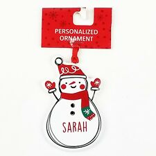 NEW Sarah Snowman Christmas Ornament Personalized Holiday Tree Decor Decoration